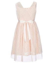 Blush By Us Angels Pink/Blush Lace Waist Beaded Dress