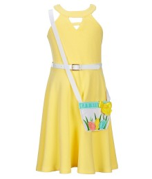 Bonnie Jean Yellow With Basket Attachment White Belted Knit Dress