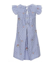 Bonnie Jean Blue/White Stripe Flutter Sleeve Tie Back Embr Dress