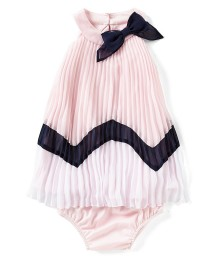 Rare Editions Pink With Black Bow And Line Pleated Dress