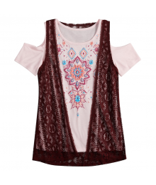 Mudd Pink/Maroon 2Pc Cold Shoulder Graphic Print Tee With Crochet Vest