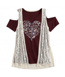 Mudd Maroon/White 2Pc Cold Shoulder Graphic Print Tee With Crochet Vest