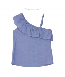 Amy Byer Blue Mini Stripe One Shoulder Top With Choker Necklace