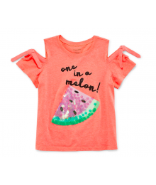 Arizona Coral Tie Sleeve Cold Shoulder One In A Melon Tee