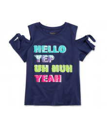 Arizona Blue Tie Sleeve Cold Shoulder Hello Yep Tee