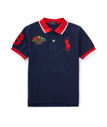 Polo Rl Dark Blue With Red Collar Big Pony Polo Shirt