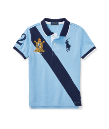Polo Rl Sky Blue With Blue Diagonal Stripe Polo Shirt
