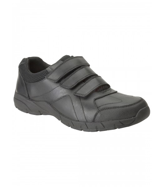 Clarks Black Bootleg 3 Strap School Shoes
