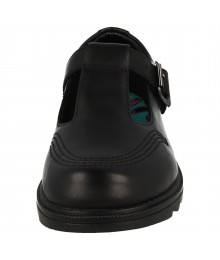Clarks Black With Side Buckle & Front Threading Girls School Shoes