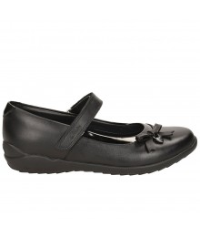 Clarks Black Side Petal Single Strap Ting Fever Jnr Gloss Edge Girls School Shoes