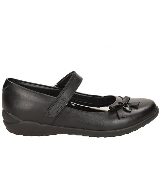 Clarks Black Side Petal Single Strap Ting Fever Jnr Gloss Edge Girls School Shoes