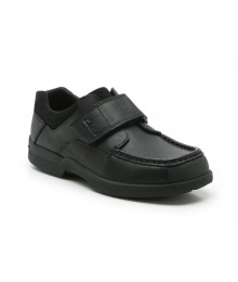 Clarks Black Single Strap Corbett Jnr Boys School Shoes  Shoes