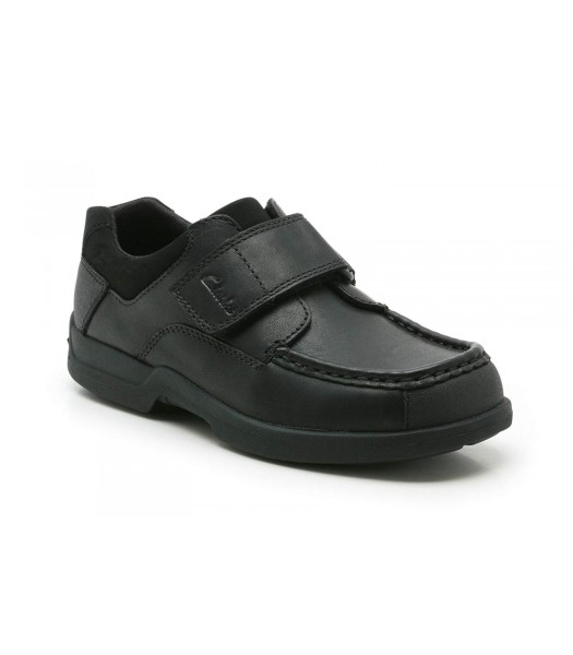 Clarks Black Single Strap Corbett Jnr Boys School Shoes