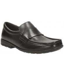 Clarks Black Single Strap Corris Step Boys School Shoes