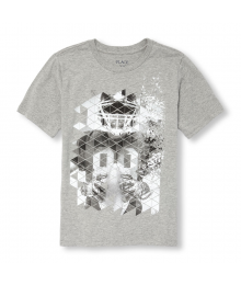 Childrens Place Gray Geometric Football Player Graphic Tee