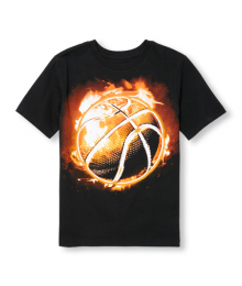 Childrens Place Black Flaming Basketball Tee