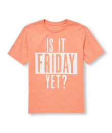 Childrens Place Peach /White  Is It Friday Yet Graphic Tee