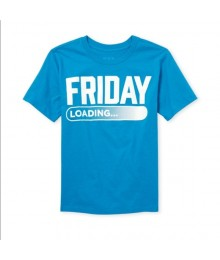 "Childrens Place Blue Toddler ""Friday Loading"" Graphic Tee"
