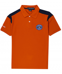 Uspa Orange With Blue Shoulder Stripe Pique Patch Polo Shirt  Big Boy