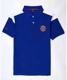 Uspa Blue With White Shoulder Stripe Pique Patch Polo Shirt