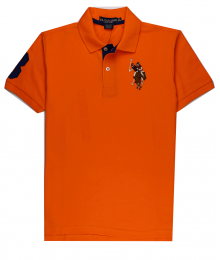 U.S Polo Assn Orange Wt Multi Uspa Crest Polo
