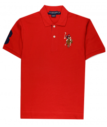 U.S Polo Assn Red Wt Multi Uspa Crest Polo