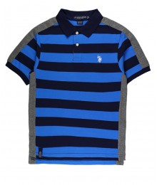Uspa Navy.Blue Stripped Color Block Pique Polo Shirt