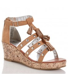paris blue tan/brown strap wedge girls sandals