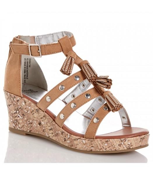 paris blue tan/brown strap wedge girls sandals