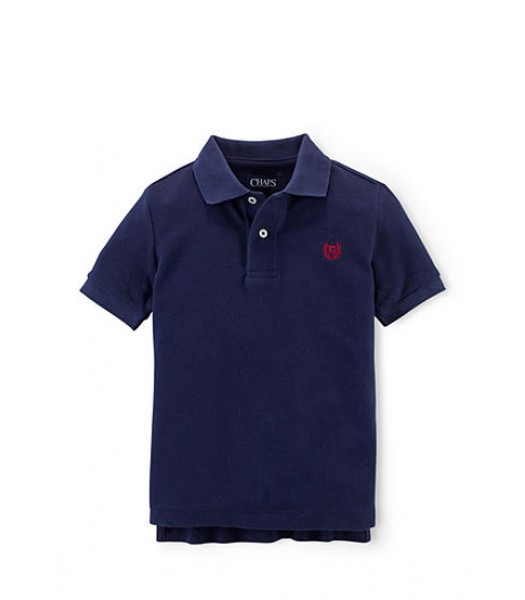chaps navy solid pique polo