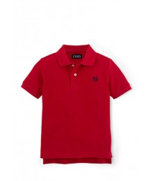 chaps red solid pique polo
