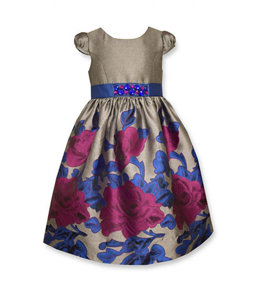 a594bfc6defe Bonnie jean gray wt floral jacquard border wastline dress. ₦13,950.00 NGN