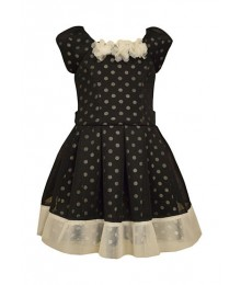 Bonnie jean black/white wt dot mesh pleated girls dress