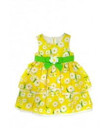 nanette yellow tiered chiffon dress wt green
