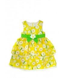 nanette yellow tiered chiffon dress wt green  Little Girl