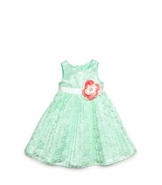 nanette green pleated wt pink rose lace dress