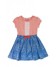 nanette pink/wht/blue embr tee top dress Little Girl
