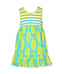 bonnie jean turq/yell/stripe pineapple dress