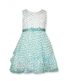 bonnie jean green/white mint sheer dot dress