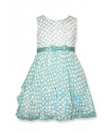 bonnie jean green/white mint sheer dot dress