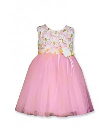 bonnie jean peach white/gold embro tulle dress Little Girl