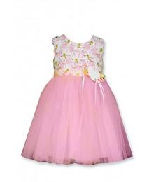 bonnie jean peach white/gold embro tulle dress