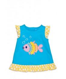nursery rhyme blue /yellow/pink fish tee  Baby Girl