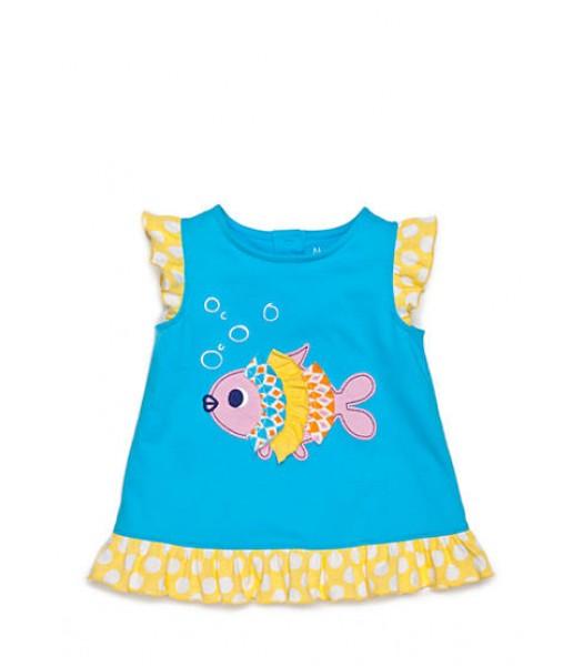 nursery rhyme blue /yellow/pink fish tee
