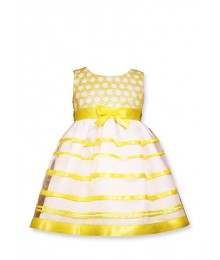 bonnie jean yellow /white bow dress