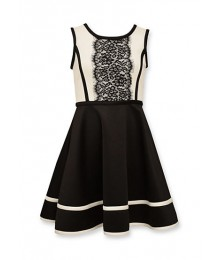 bonnie jean black/white lace front flare dress