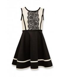 bonnie jean black/white lace front flare dress