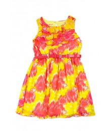 nanette yellow/pink chiffon pink belted dress