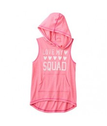 "so pink ""squad"" graphic sleeveless hoodie"