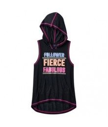 so black fierce graphic sleeveless hoodie